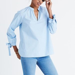 NWT Madewell Striped Tie Sleeve Popover Top